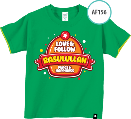 AF156 Kaos Anak Love & Follow Rasulullah, Peace & Happiness 1