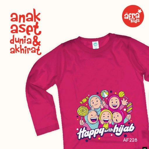 AF228 Kaos Anak Happy With Hijab 1